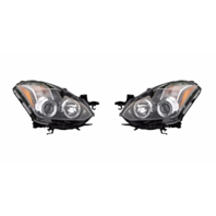Fits 10-13 NISSAN ALTIMA COUPE LEFT & RIGHT SET HALOGEN HEADLAMP ASSEMBLIES