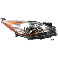 FITS 10-13 MAZDA 3 RIGHT PASS HALOGEN HEADLAMP ASSM With/CHROME PROJECTOR BEZEL