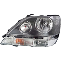 Fits 99-03  RX300 Left Driver Halogen Headlamp Assembly w/Black Bezel