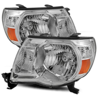 Fits 05-11 Toy Tacoma Driver & Passenger Side Headlight w/Chrome Bezel (pair)