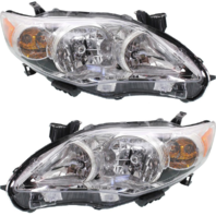 Fits 11-13 Toy Corolla Driver & Passenger Side Headlamp w/Chrome Housing (Pair)