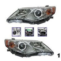 12-13 Toyota Camry Left & Right Headlight Assemblies w/Chrome Bezel (pair)