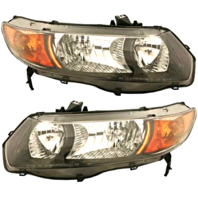 Fits 06-08 Honda Civic Coupe Left & Right Headlamp Pair W/Black Bezel-Amber Len