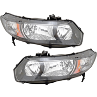 FIts 09-11 Honda Civic Coupe L & R Headlamp w/black bezel- clear park lens-pair