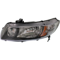 Fits 09-11 Honda Civic Coupe Left Driver Headlamp w/black bezel- clear park lens