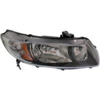 Fits 09-11 Honda Civic Coupe Right Psngr Headlamp w/black bezel- clear park lens