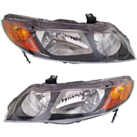 Fits 06-11 Honda Civic Sedan Left & Right Headlamp Assm w/Amber Park Lens (pair)