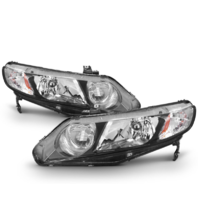 Fits 06-11 Honda Civic Sedan Left & Right Headlamp Assem w/Clear Park Lens-pair