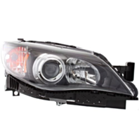 Fits 08-11 Subaru Impreza; WRX Right Passenger Halogen Headlamp w/Black Bezel