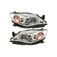 Fits 08-09  Impreza Left & Right Halogen Headlamp w/Chrome Bezel - Pair