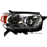 Left Driver Halogen Headlight Assembly for 10-13 Toy 4Runner w/Black Bezel