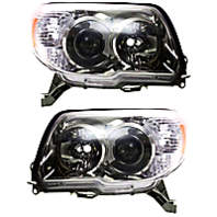 Left & Right Set Halogen Headlight Assemblies for 10-13 Toy 4Runner w/Chrome Bzl