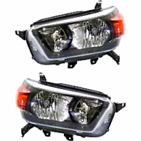 Left & Right Set Halogen Headlight Assemblies for 10-13 Toy 4Runner w/Black Bzl