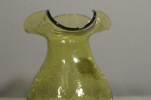 Crackle Glass 525 Hand Blown Art Glass Vase Yellow Green