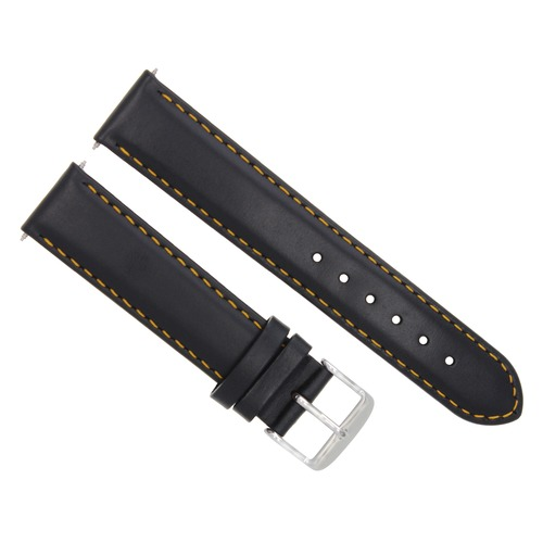 20MM SMOOTH LEATHER STRAP BAND BRACELET FOR MONTBLANC WATCH BLACK ORANGE STITCH