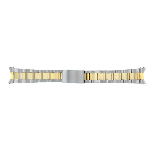 OYSTER WATCH BAND FOR ROLEX DATE AIRKING 5500 GOLD/SS TWO TONE 19MM