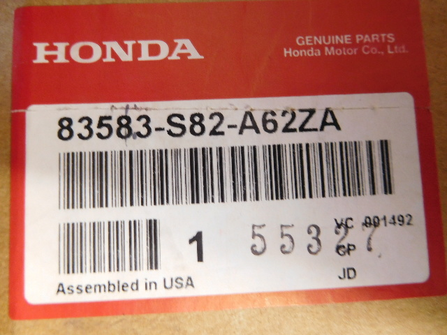 NOS OEM Honda Accord Coupe EX Gray Leather Left Door Trim Panel 83583-S82-A62ZA