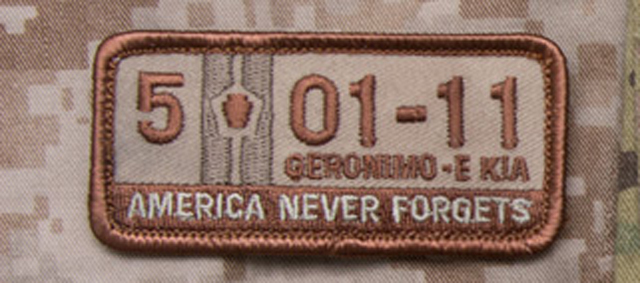 Mil Spec Monkey 5 01 11 Geronimo E KIA Morale Patch Desert Hook Back