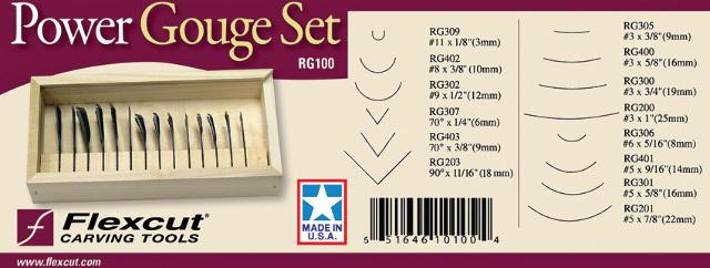 """RG305 #3 x 3//8/""""; RG400 #3 Flexcut Deluxe Power Gouge Set 14 Piece Set includes"""