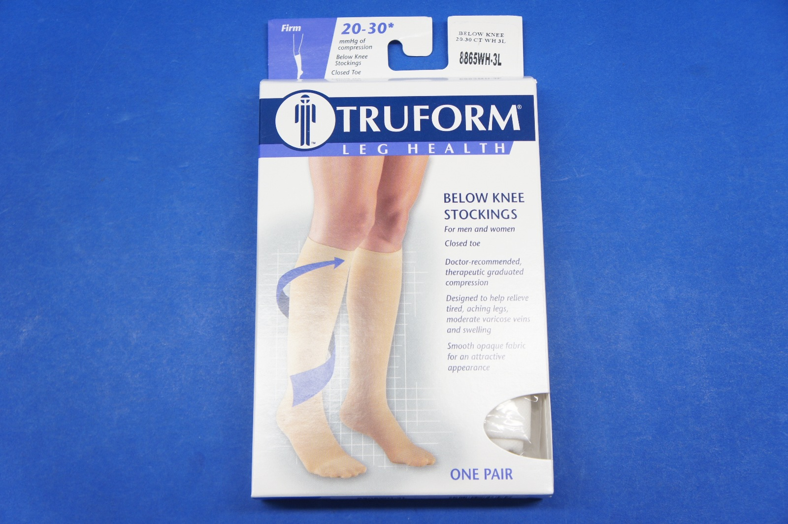 6822641cc5 Truform 8865WH-3L 3X-Large size Compression Stocking Soft Top Closed Toe 20-30  mmHg