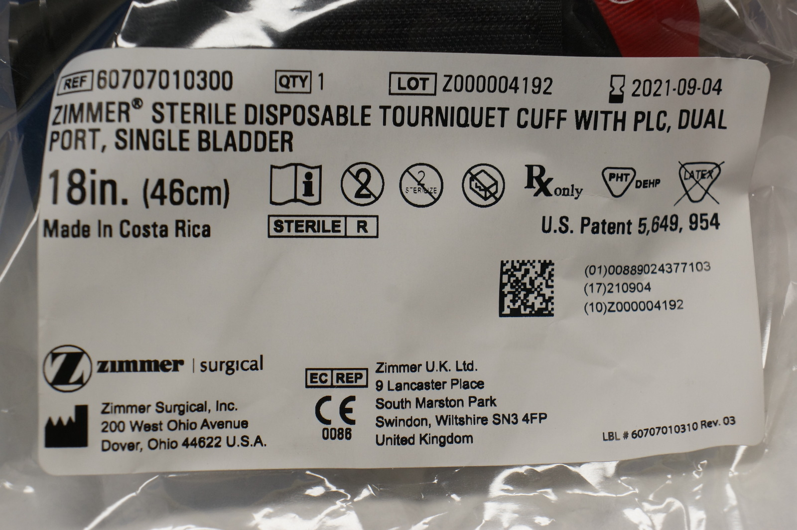 Zimmer Kirschner Wire Reference Numbers Trusted Wiring Diagram Dakota 2wd Fuse Box Map 300x248 94 Dodge 60707010300 Sterile Disposable Tourniquet Cuff Port Single