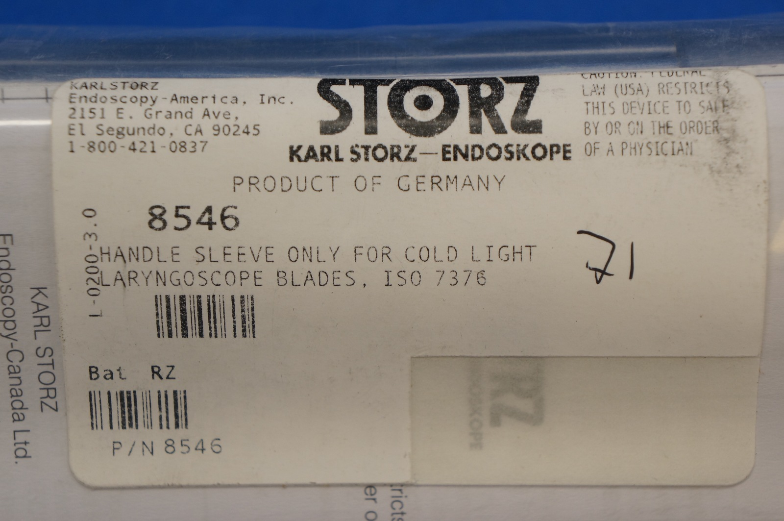 Karl Storz 8546 Handle Sleeve Only For Cold Light Laryngoscope Blade, ISO  7376