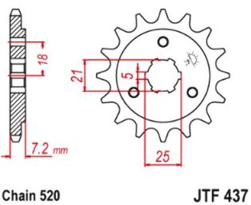 JT Front Sprocket 15T 520 Pitch JTF437.15 Suzuki DR 650 RSEU 1991