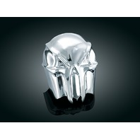 Kuryakyn 7718 Chrome Skull Horn Cover for 1992-2018 Harley Davidson FL FX XL XR