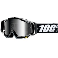 100% Racecraft CE-Aproved Off-Road Adult Goggles - Abyss Black w/Mirror Silver Lens