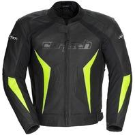 Cortech LATIGO 2.0 Armored Leather Jacket - Black/Hi-Viz - Mens Sizes S-2XL