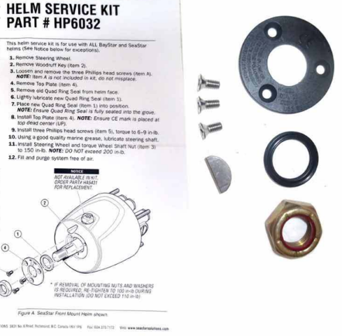 Teleflex Service Kit HP6032 Steering Wheel Nut Key NEWER SeaStar Baystar Helm MD