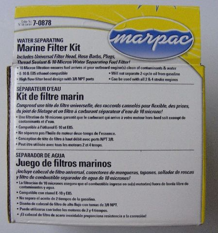 Yamaha Evinrude Johnson Fuel Filter Water Separator Kit STAINLESS STEEL Head MD