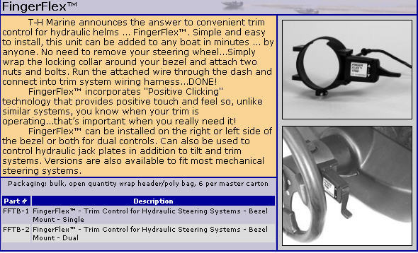 T-H Marine Jack Plate//Power Trim Switch FingerFlex FFTB-1-DP f Steering Helm MD