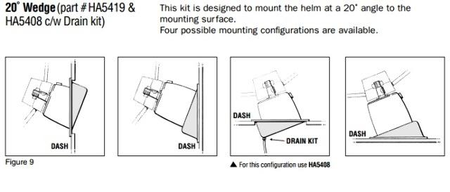 Details about Teleflex SeaStar Helm Dash Mounting Bracket 20 Degree Wedge  Kit 4 Pos  HA5419 MD