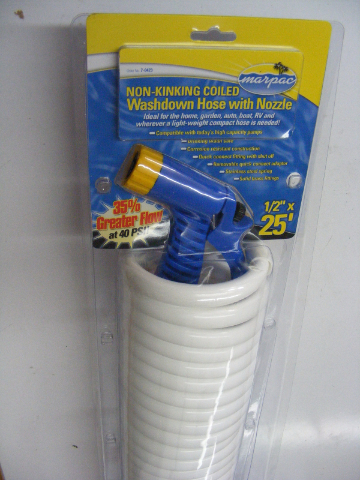"""Coiled Washdown Hoses with Nozzle 1//2/"""" x 25 Marine  FP020035 MD Marpac"""