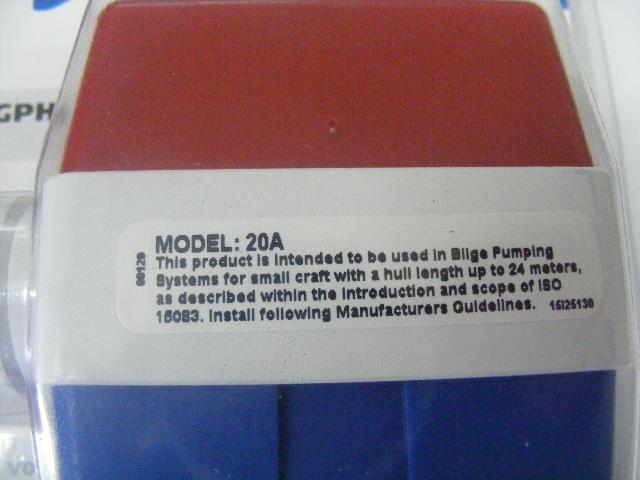 "Rule 20A 1000 GPH Square Non-Automatic Marine Submersible Bilge Pump 1 1//8/"" 12V"