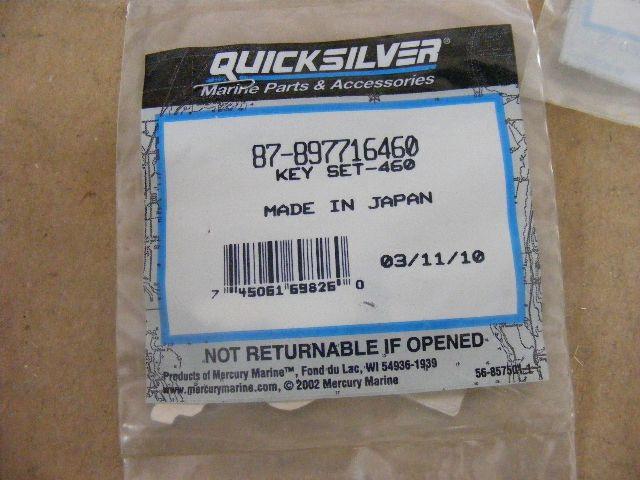 NEW OEM QuickSilver Mercury Key Switch PN# 87-897716460 Factory Cut