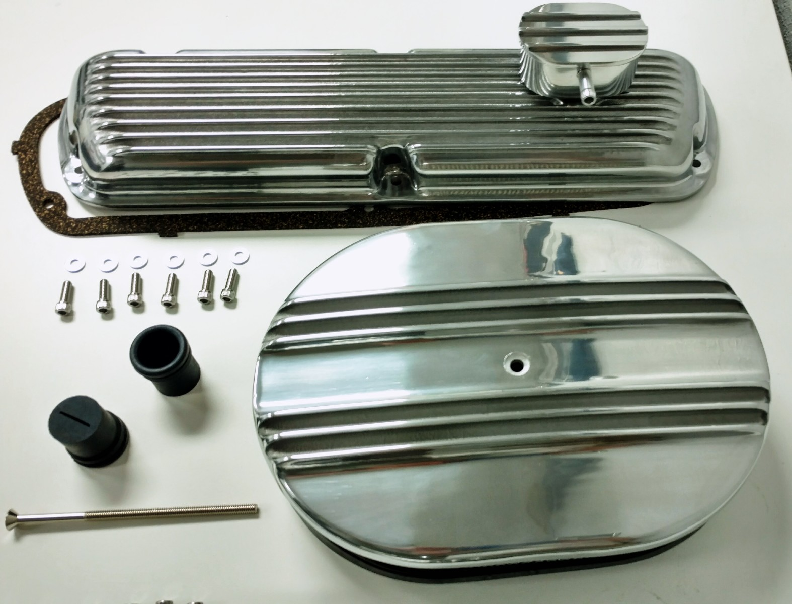 Sb Ford Finned Aluminum Valve Cover W Air Cleaner Kit Sbf V8 260 302 Wiring Harness Jeep 289