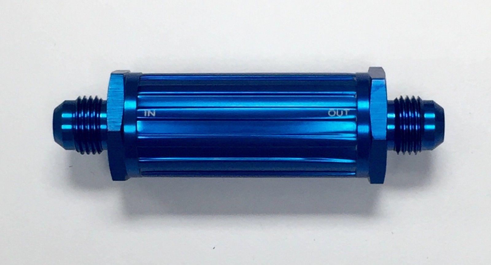 Aluminum Racing Inline Fuel Filter w/Brass 150 Micron Element 6AN