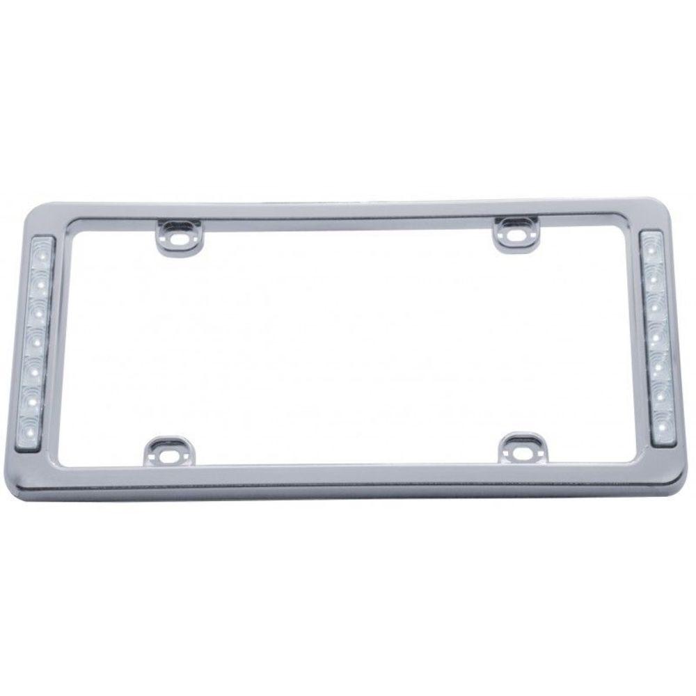 Chrome Plastic White LED Reverse Lighted License Plate Frame 13-1/2 ...
