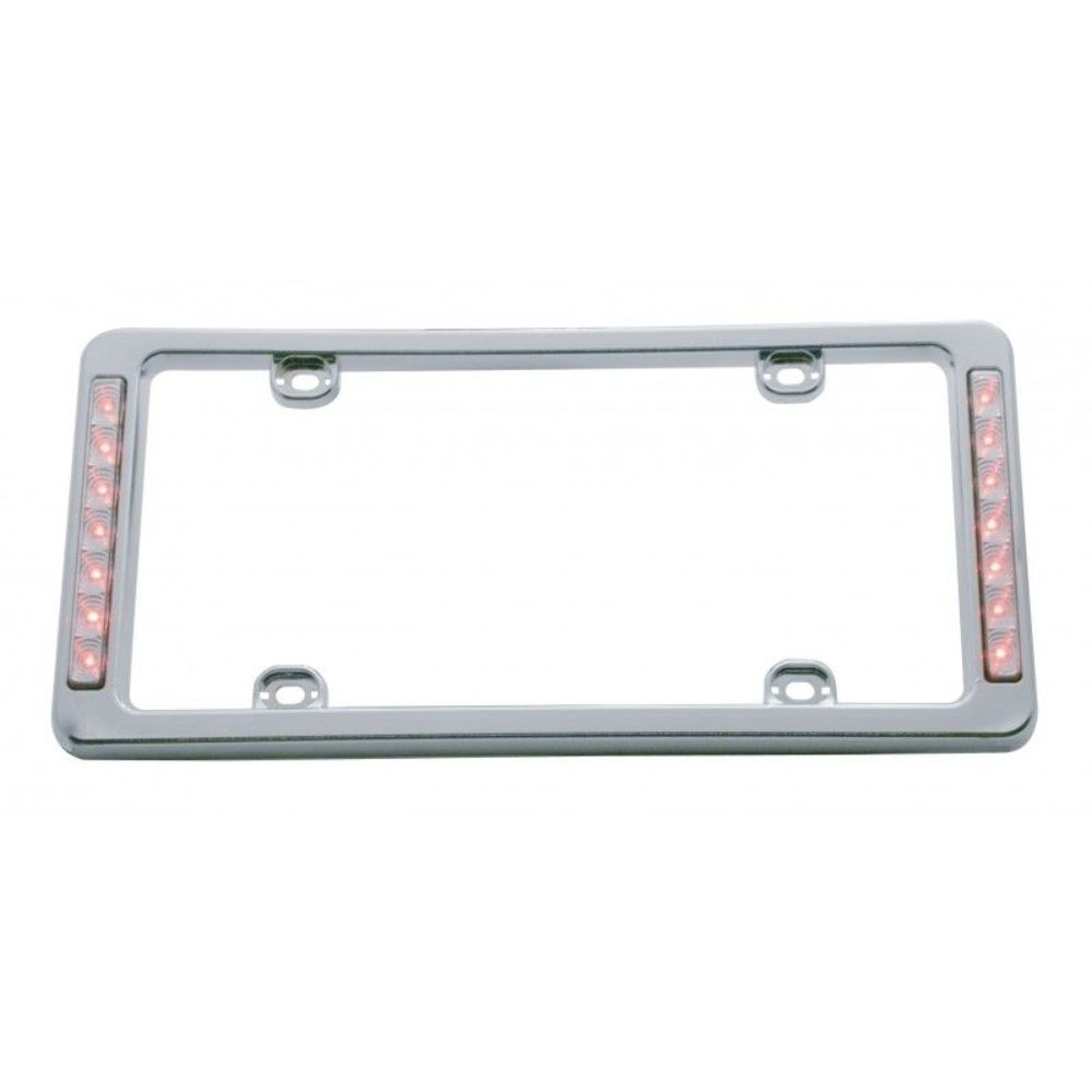 Chrome Plastic Red LED Reverse Lighted License Plate Frame 13-1/2 x ...