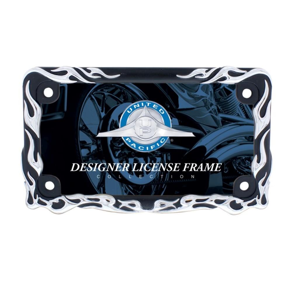 chromeblack flame motorcycle license plate frame - Motorcycle License Plate Frames