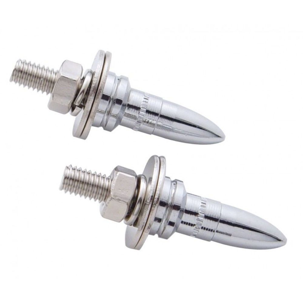Chrome Bullet Shape Custom License Plate Fasteners, Set of 2, Hot ...