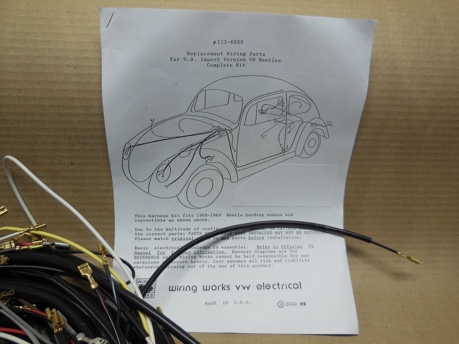 ... 1967 ALL Karmann Ghia VW COMPLETE Wiring Works Wire Harness Kit - USA  MADE ...