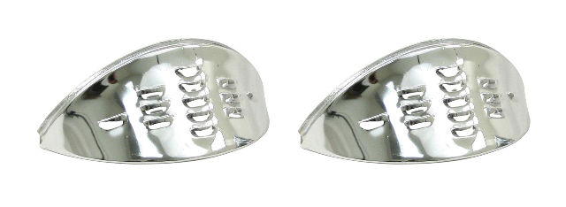 VW Air Cooled Bug Chrome Headlight Eyebrows LOUVERED Pair,  6451
