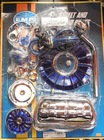 empi engine trim super chrome   blue dress up kit vw bug