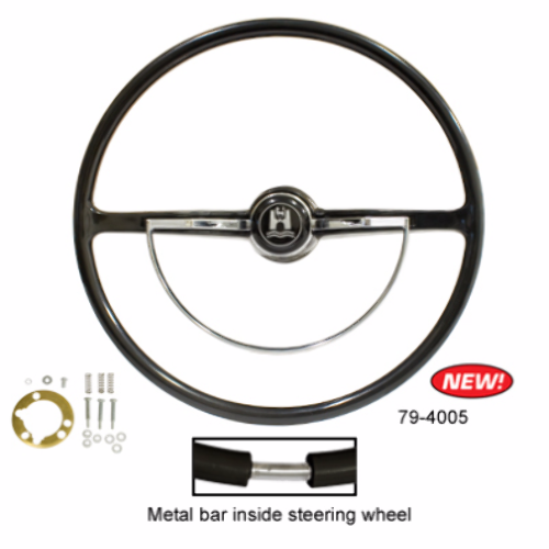 Stock VW Design Replacement Black Steering Wheel Kit T-1, Ghia, Type-3 1962-1971