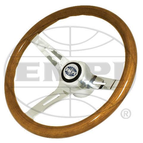 "VW Bug Ghia EMPI Classic Wood Steering Wheel ,380mm w/31mm Grip 3"" Dish With Hub"