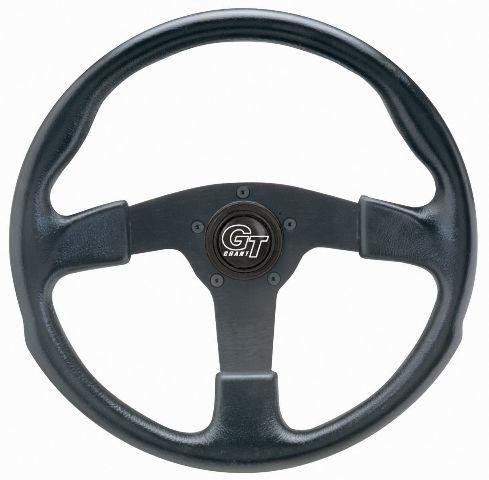"VW Bug Ghia Steering Wheel 13"" 3"" Dish 3 Spk. Molded Grip Black Anodize 79-4032"