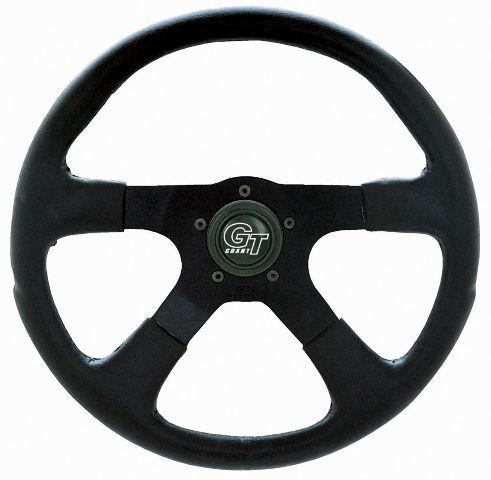 "VW Bug Ghia Steering Wheel 14"" 3-3/4 Dish Molded Grip Silver Anodize 79-4035"